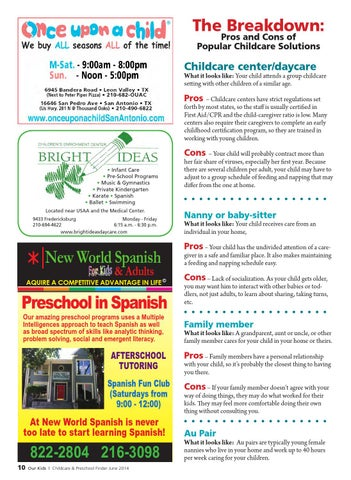 Childcare Preschoool Finder 2014 by Our Kids Magazine - issuu