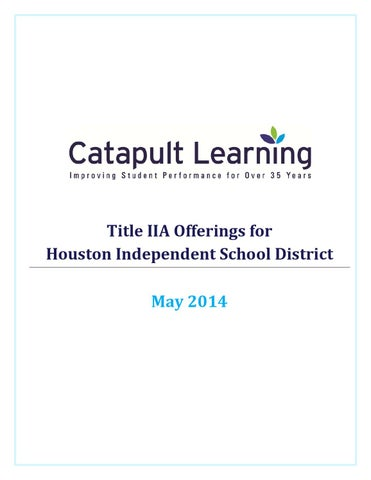Title IIA offerings for HISD by Catapult Learning - issuu