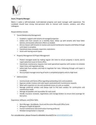 Asset / Property Manager Job Description by Martin Bravo - issuu - property manager job description