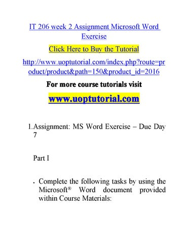 It 206 week 2 assignment microsoft word exercise by happy1156 - issuu - microsoft exercise