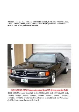 1981 1991 mercedes benz 126 series (300sd sdl se sel, 350sd sdl