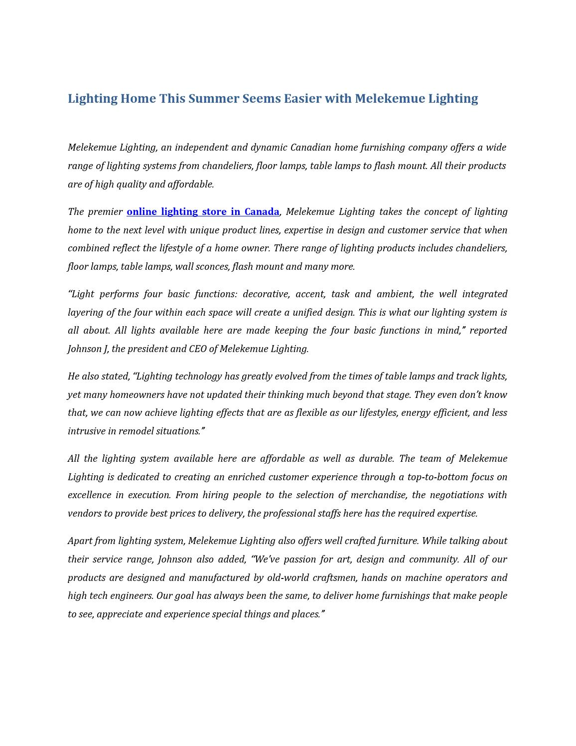 Affordable Lighting Canada Lighting Home This Summer Seems Easier With Melekemue Lighting By