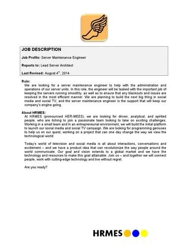 Server maintenance engineer job description v080414 by Alex Qi - issuu - engineer job description