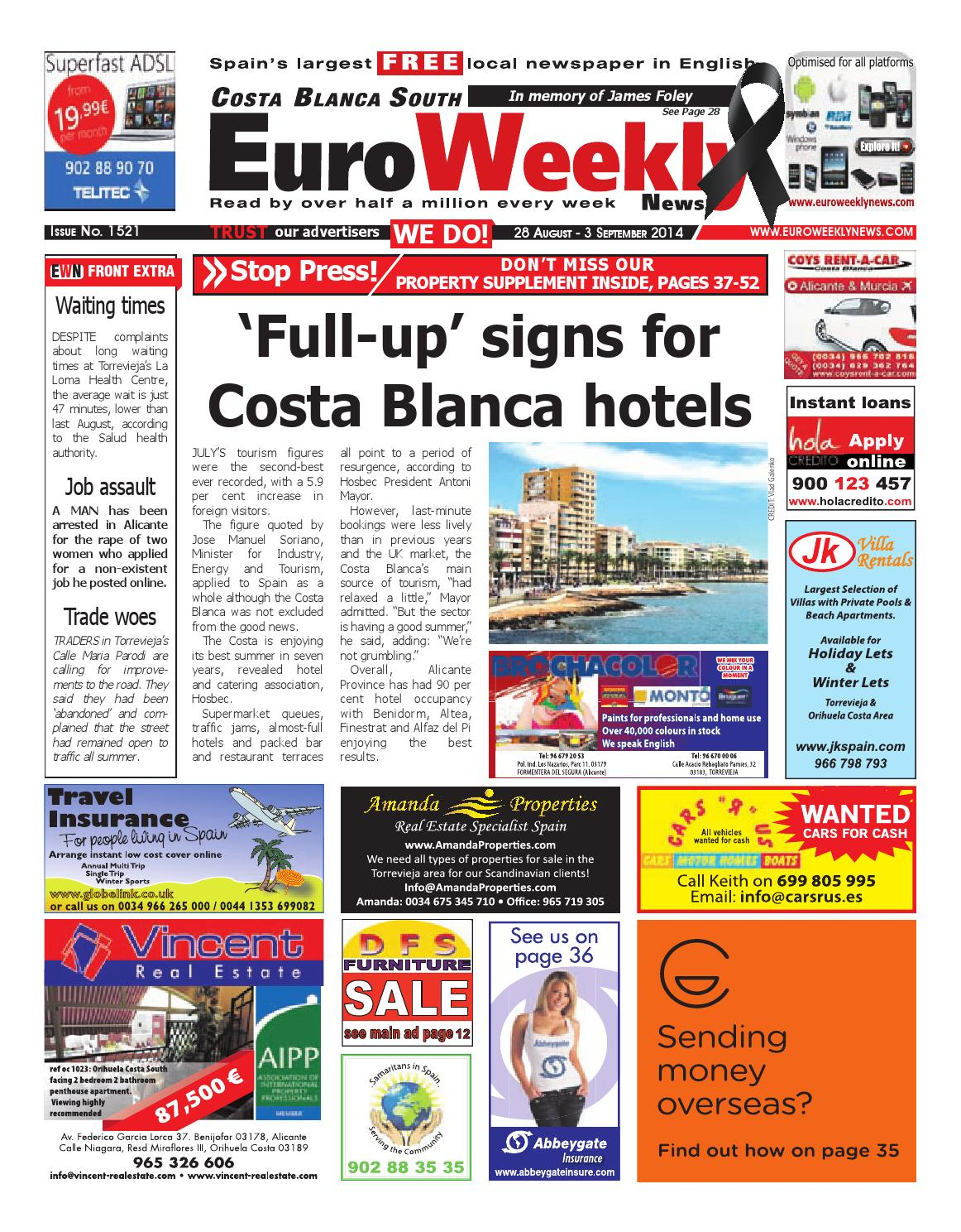Cash Pool Rüsselsheim Euro Weekly News Costa Blanca South 28 August 3 September 2014