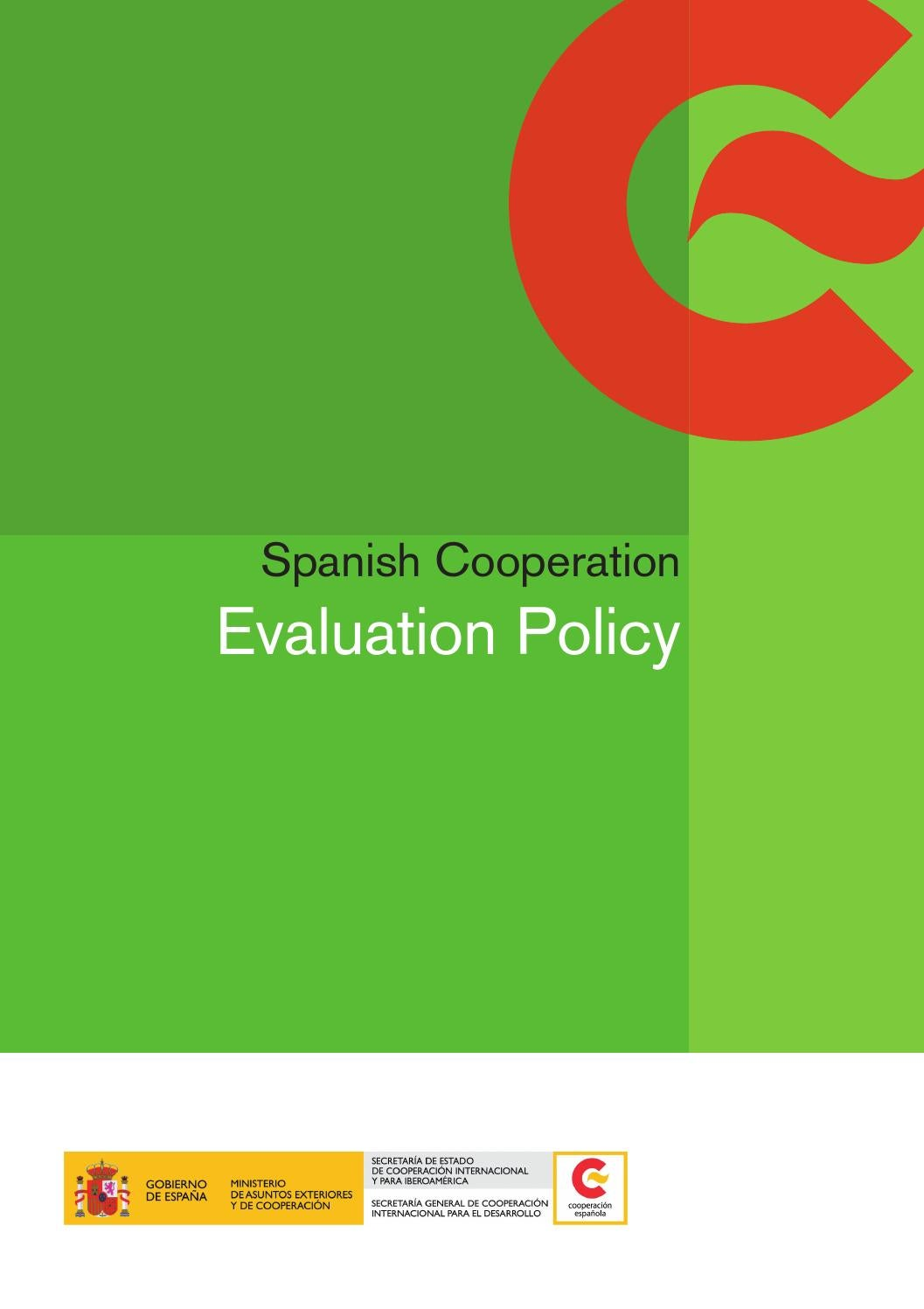 Ministerios De Asuntos Exteriores Spanish Cooperation Evaluation Policy