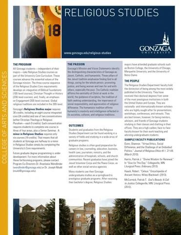 Religious Studies - Academic Brochure, Gonzaga University by Gonzaga