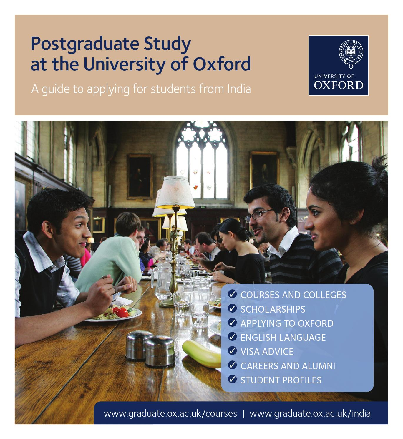 Postgraduate Study Postgraduate Study At The University Of Oxford: A Guide To