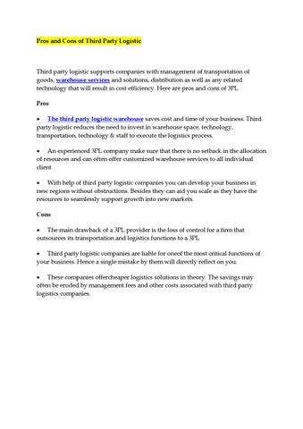Pros and cons of third party logistic by Luramariya - issuu