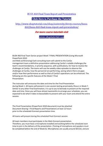 Busn 460 final team report and presentation by elijahdaniel - issuu