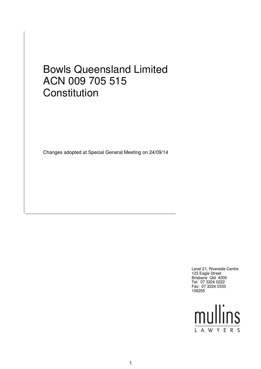 Bowls Qld Bowls Qld Constitution By Queensland Bowler Issuu