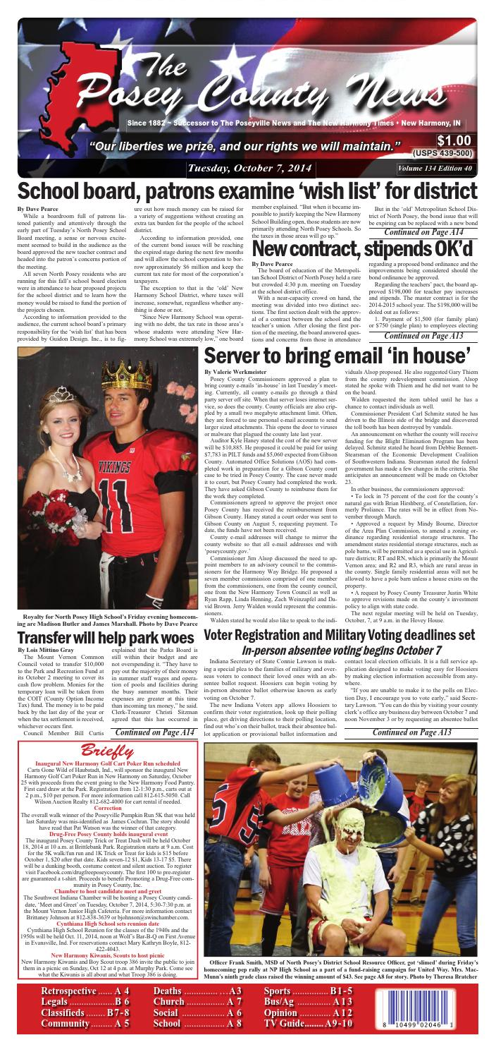 Novel Küchen Lutz October 7 2014 The Posey County News By The Posey County News