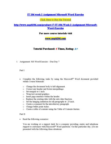 It 206 week 2 assignment microsoft word exercise by prabhavathii - issuu
