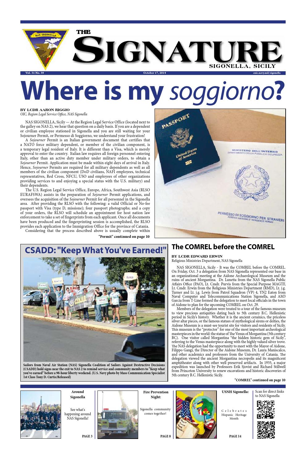 The Signature October 17 2014 By Nas Sigonella Signature Issuu - Soggiorno Office Aviano