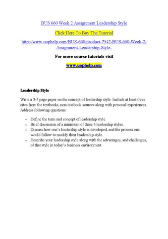 Bus 660 week 2 assignment leadership style by kjhhg602 - issuu