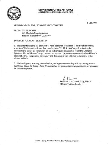 af letter of recommendation example - Goalgoodwinmetals - air force letter of recommendation