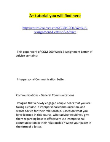 Com 200 week 5 assignment letter of advice by Kristin Allen - issuu - assignment letter