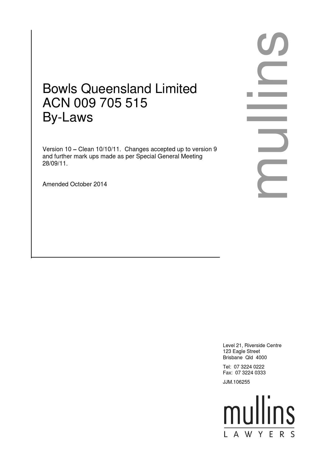 Bowls Qld Bowls Qld By Laws By Queensland Bowler Issuu