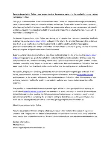 Resume Cover Letter Online rated among the top five resume experts