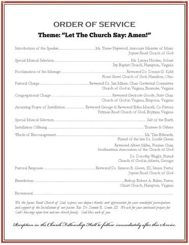 Joynes Road Church of God Installation Program by MLDCommunications