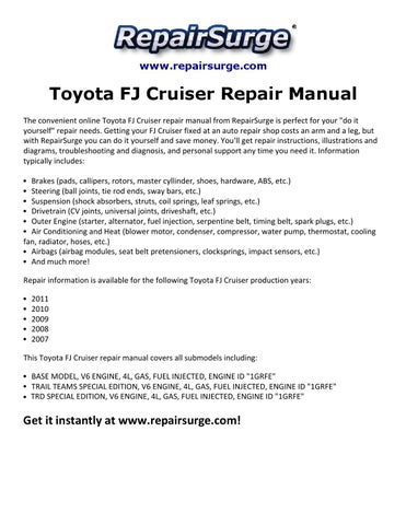 Toyota fj cruiser repair manual 2007 2011 by Ryan Lung Melville - issuu