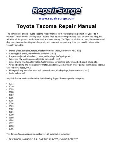 Toyota tacoma repair manual 1995 2011 by Ryan Lung Melville - issuu