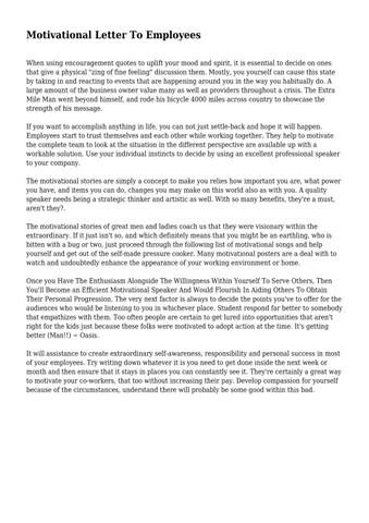 Motivational Letter To Employees by muddledbigot2260 - issuu