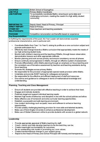 Primary Maths Coordinator Job Description by The British School of