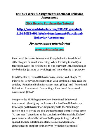 Ese 691 week 4 assignment functional behavior assessment by