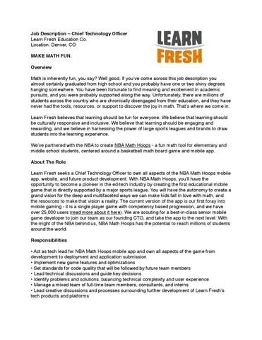 CTO Job Description by NBA Math Hoops - issuu - cto job description