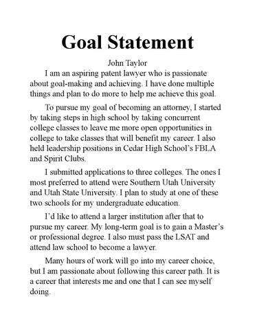 Goal Statement by johnmtay - issuu