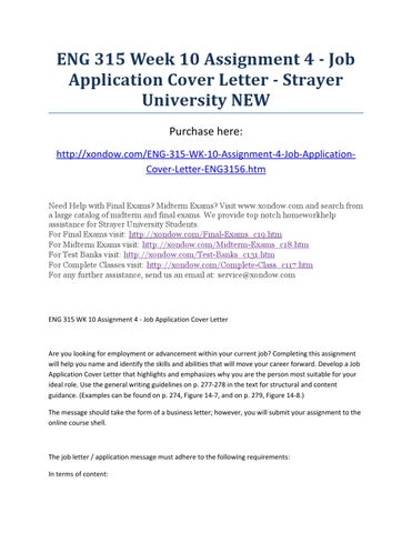 Eng 315 week 10 assignment 4 job application cover letter strayer