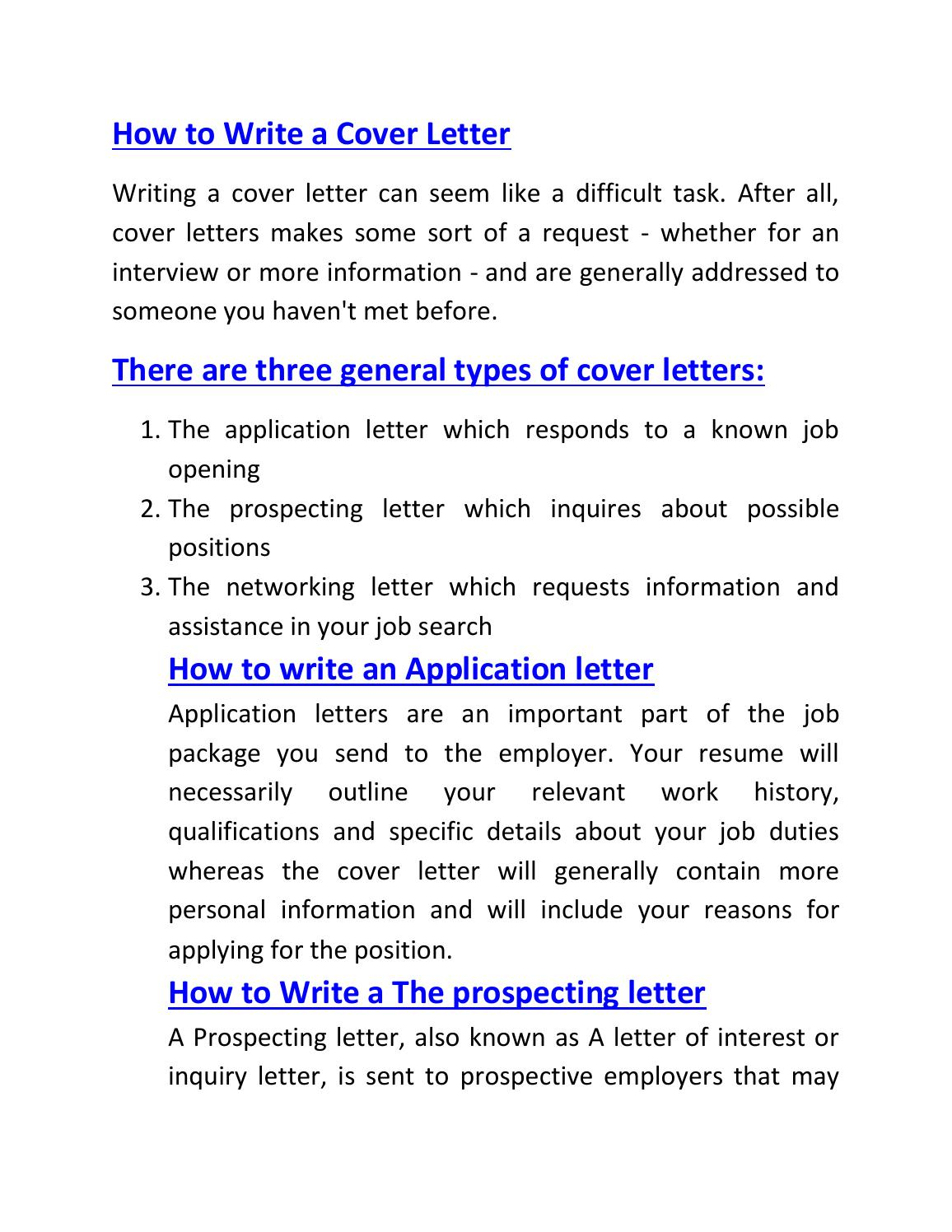 prospective job cover letters