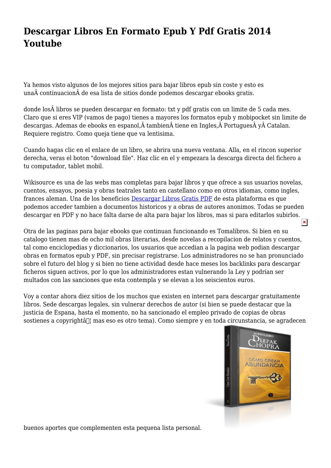 Paginas Para Bajar Libros Para Ebook Gratis Descargar Libros En Formato Epub Y Pdf Gratis 2014 Youtube By