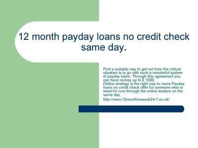 12 month payday loans no credit check same day. by peetermark1 - Issuu