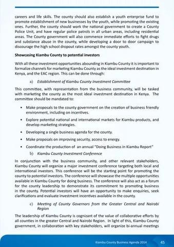Kiambu County Business Agenda by Kenya Association of Manufactures - collaboration meeting agenda