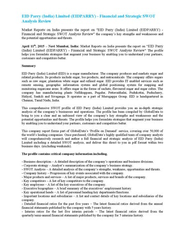 Eid parry (india) limited (eidparry) financial and strategic swot - strategic analysis report