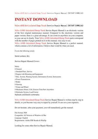 Volvo a30d articulated dump truck service repair manual instant