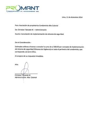Carta promant solicitud de pago by Asociación de Propietarios