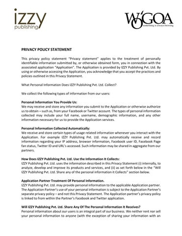 PRIVACY POLICY STATEMENT by WG Magazines - issuu