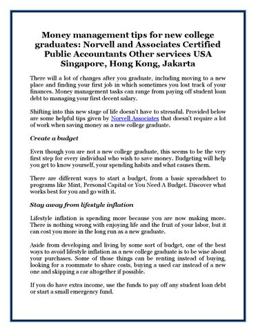 Money management tips for new college graduates Norvell and