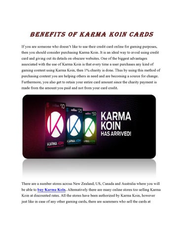 Benefits of karma koin cards by Alexander Queen - issuu