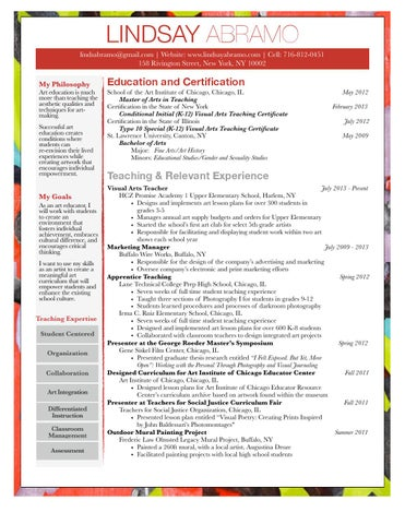 Lindsay Abramo Visual Arts Teacher Resume 2015 by Lindsay Abramo - issuu