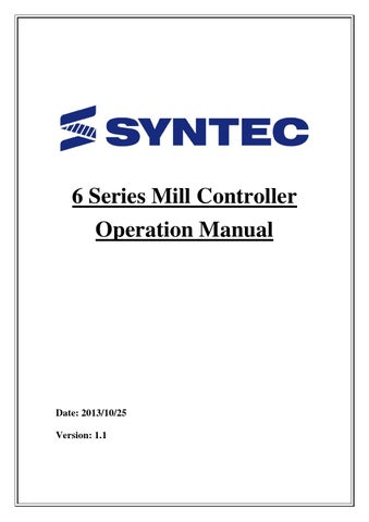 Syntec 6mb operation manual by apexcnctech - issuu - operation manual