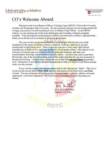 2015 Navy ROTC Welcome Aboard Letter by The University of Idaho - issuu