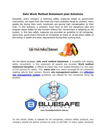 Safe Work Method Statement plan Solutions by BlueSafe solutions - issuu