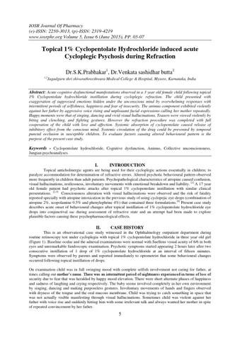 Topical 1 Cyclopentolate Hydrochloride induced acute Cycloplegic