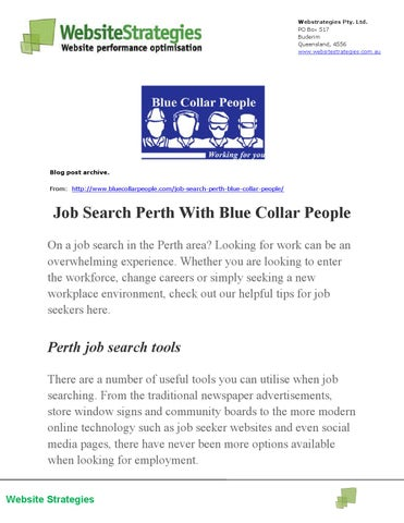Job Search Perth With Blue Collar People by Knowledgebase - issuu