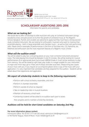 Music scholarship application form 2015 by The Regent\u0027s