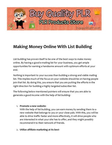 How to make money online with list building by buyqualityplr - issuu