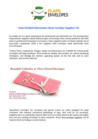 Best Overprint Envelope Suppliers UK by taylorfinely - issuu